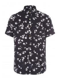 Mens Black Floral Print Shirt