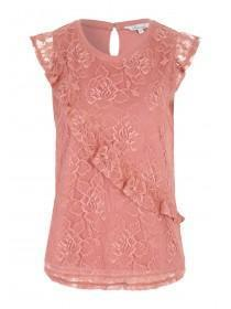 Womens Pink All-Over Frilled Lace Top