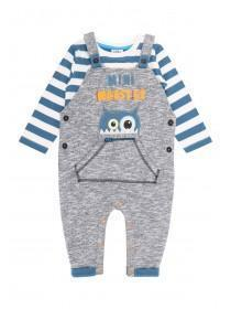 Baby Boys Grey Monster Dungaree Set