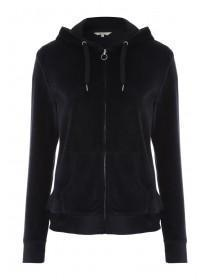 Womens Black Velour Zip Up Hoody