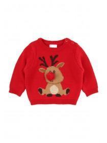 Babys Red Reindeer Jumper