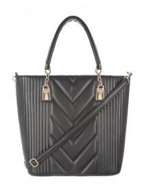 Womens Black Quilted Tote