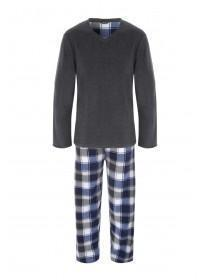 Mens Grey Fleece Pyjamas