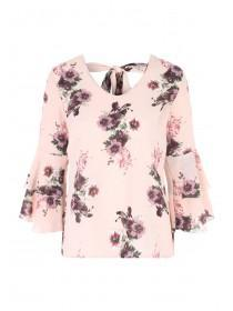 Womens Pink Double Flute Sleeve Top