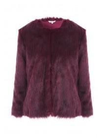 Womens Purple Short Fur Coat