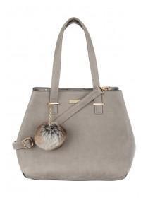 Womens Grey Pom Bag