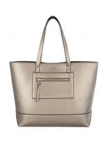 Womens Pewter Metallic Tote Bag