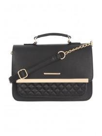 Womens Black Quilted Cross Body Bag