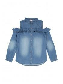 Older Girls Blue Denim Cold Shoulder Shirt