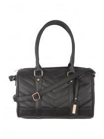 Womens Black Quilted Bowler Bag