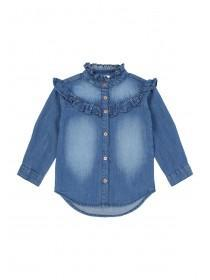 Younger Girls Blue Denim Frill Shirt