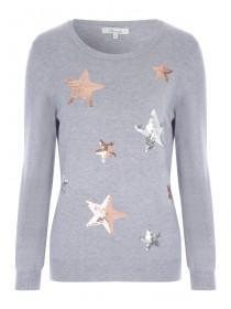 Womens Grey Sequin Star Jumper