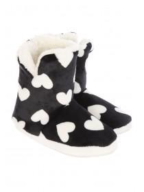 Womens Black Heart Slipper Boots