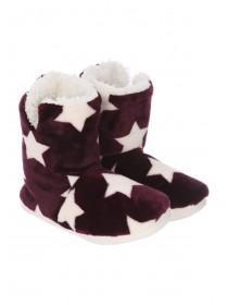 Womens Purple Star Slipper Boots