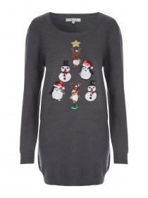 Womens Long Line Embellished Christmas Jumper
