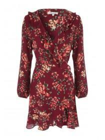 Womens Purple Floral Wrap Dress