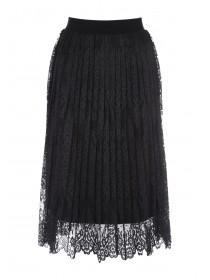 Womens Black Pleated Lace Skirt