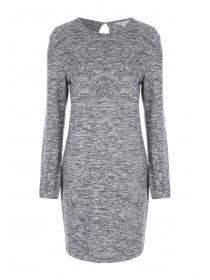 Womens Grey Ruffle Dress