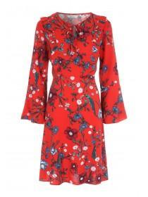 Womens Red Floral Ruffle Dress