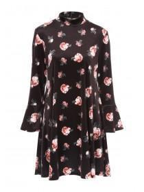 Womens Floral Printed Velvet Dress
