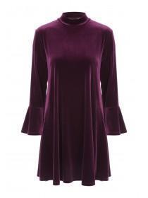 Womens Purple Velvet Dress
