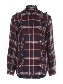 Womens Burgundy Ruffle Check Shirt