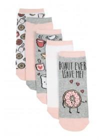 Womens 5PK Grey Donut Design Trainer Socks