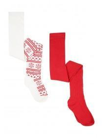 Girls 2pk Red Tights