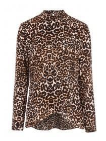 Womens Leopard Print High Neck Top