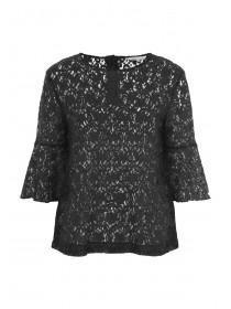 Womens Black Lace Flute Sleeve Top