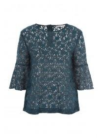 Womens Green Lace Flute Sleeve Top