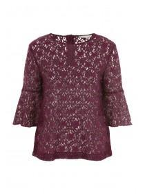 Womens Purple Lace Flute Sleeve Top