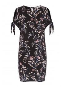 Womens Black Floral Tie Sleeve Dress