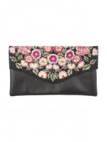 Womens Black Embellished Envelope Bag