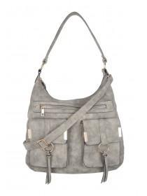 Womens Grey Tassel Bag