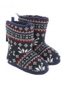 Boys Fairisle Slipper Boots