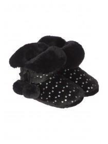 Girls Black Sequin Slipper Boots