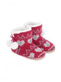 Girls Red Fair Isle Slipper Boots