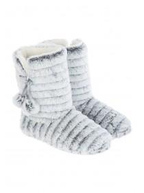 Womens Grey Pom Slipper Boots