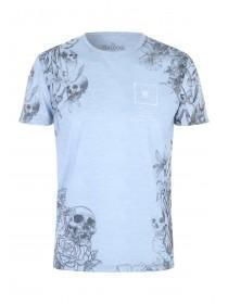 Mens Light Blue Floral Skull T-Shirt