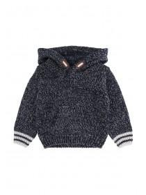 Baby Boys Blue Knit Hooded Jumper