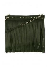 Womens Khaki Cross Body Tassel Bag