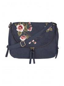 Womens Blue Denim Messenger Bag