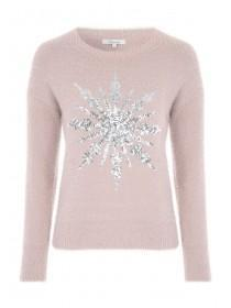 Womens Snowflake Fluffy Jumper