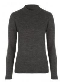 Womens Charcoal Turtle Neck Jumper