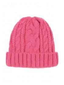 Womens Pink Cable Knit Hat