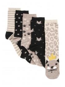 Womens 5pk Cat Design Socks