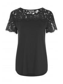 Womens Black Lace Panel T-Shirt