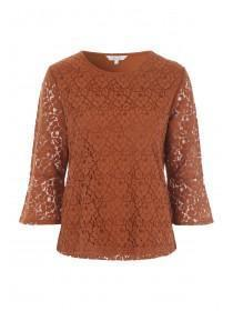 Womens Tan Lace Top