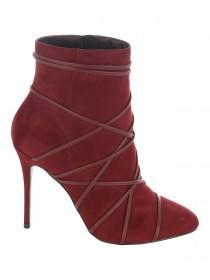 Jane Norman Cherry Red Strap Detail Ankle Boot